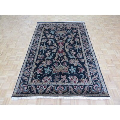 One-of-a-Kind Railey Hand-Knotted Wool Black/Burgundy Area Rug