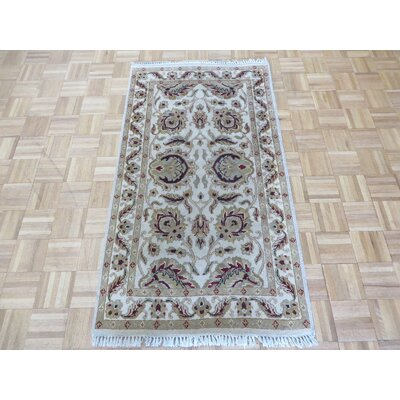 One-of-a-Kind Railey Hand-Knotted Ivory Area Rug