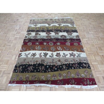 One-of-a-Kind Railey Hand-Knotted Rayon from Bamboo Silk White/Red Area Rug Rug Size: Rectangle 61 x 91