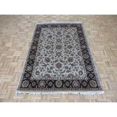 One-of-a-Kind Railey Hand-Knotted Beige/Black Area Rug