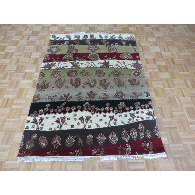 One-of-a-Kind Railey Hand-Knotted Red/Green Area Rug