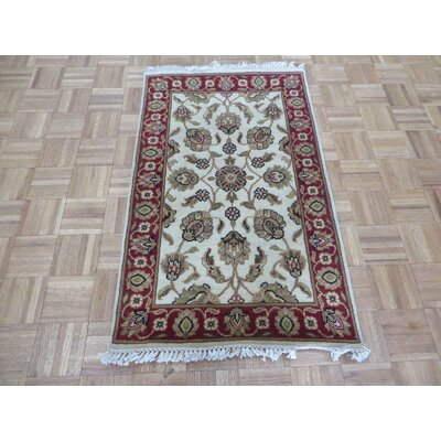 One-of-a-Kind Rhyne Hand-Knotted Wool Ivory/Burgundy Area Rug