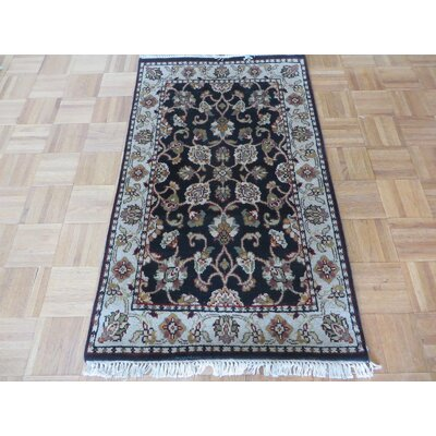 One-of-a-Kind Rhyne Hand-Knotted Wool Black Area Rug Rug Size: Rectangle 26 x 41