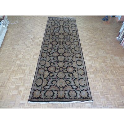 One-of-a-Kind Railey Wide Hand-Knotted Wool Black Area Rug