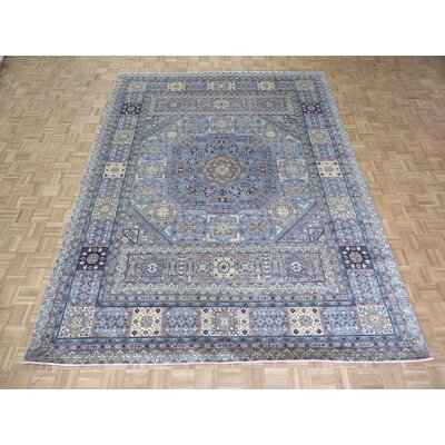 One-of-a-Kind Railsback Hand-Knotted Wool Sky Blue Area Rug