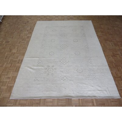 One-of-a-Kind Pafford Peshawar Oushak Hand-Knotted Wool Ivory Area Rug