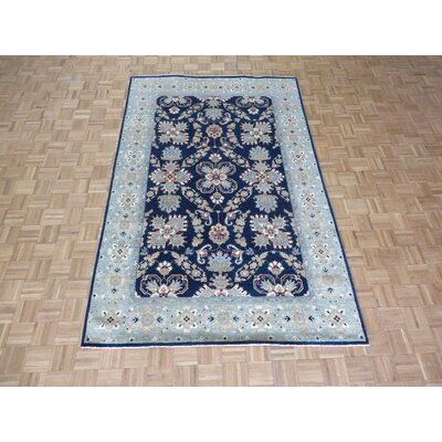 One-of-a-Kind Josephson Mahal Peshawar Hand-Knotted Wool Navy Blue Area Rug