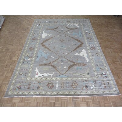 One-of-a-Kind Pellegrino Peshawar Oushak Hand-Knotted Wool Gray Area Rug