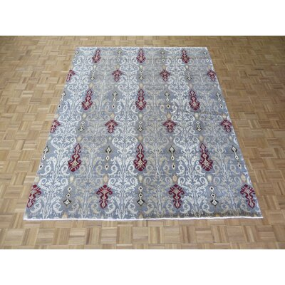 One-of-a-Kind Pellegrino Ikat Peshawar Hand-Knotted Wool Grayish Blue Area Rug