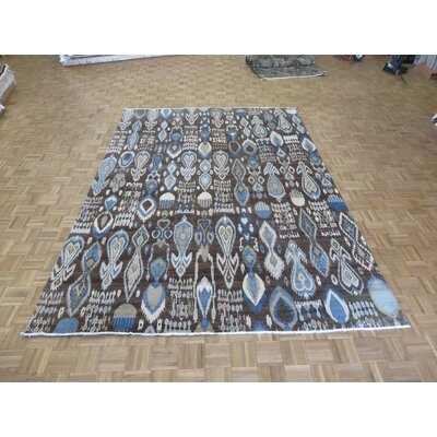 One-of-a-Kind Pellegrino Ikat Peshawar Hand-Knotted Wool Chocolate Brown Area Rug