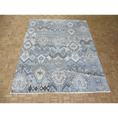 One-of-a-Kind Pellegrino Ikat Peshawar Hand-Knotted Wool Sky Blue Area Rug