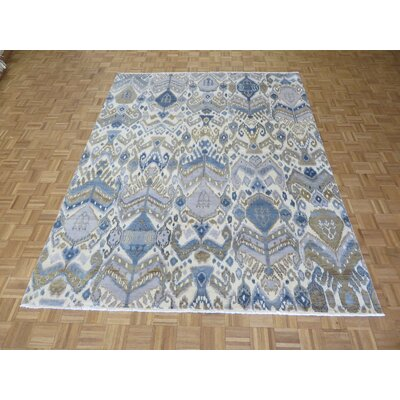 One-of-a-Kind Pellegrino Ikat Peshawar Hand-Knotted Wool Ivory/Sky Blue Area Rug