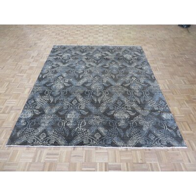 One-of-a-Kind Josephson Ikat Peshawar Hand-Knotted Wool Chocolate Brown Area Rug