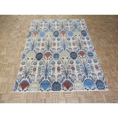 One-of-a-Kind Pellegrino Ikat Peshawar Hand-Knotted Wool Ivory Area Rug