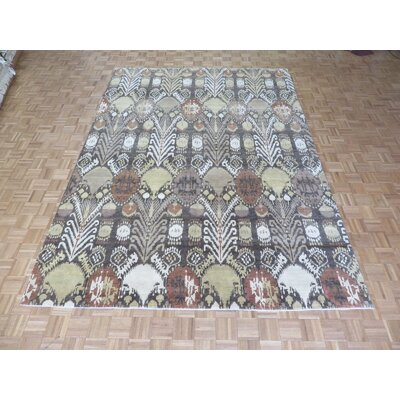 One-of-a-Kind Railsback Ikat Hand-Knotted Brown Area Rug