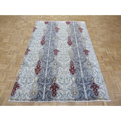 One-of-a-Kind Railsback Ikat Hand-Knotted Wool Grayish Blue Area Rug