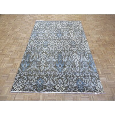 One-of-a-Kind Railsback Ikat Hand-Knotted Wool Chocolate Brown Area Rug