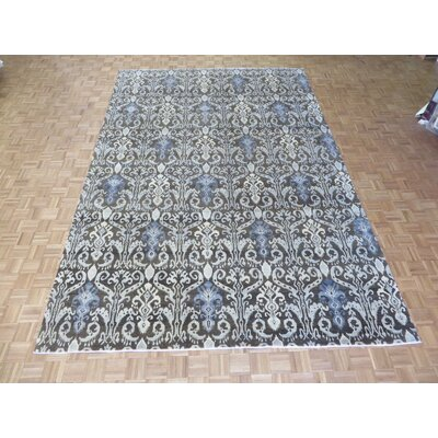 One-of-a-Kind Railsback Ikat Hand-Knotted Silk Brown Area Rug