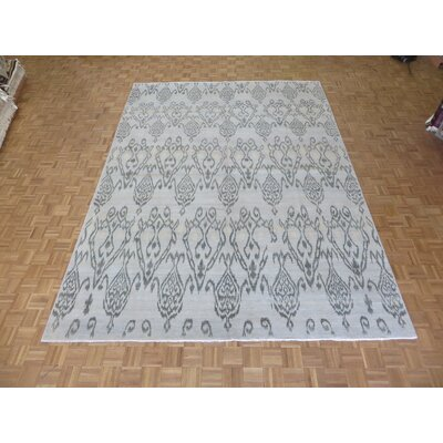 One-of-a-Kind Railsback Ikat Hand-Knotted Wool Aqua Blue Area Rug