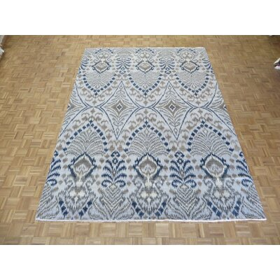 One-of-a-Kind Railsback Ikat Hand-Knotted Silk Beige Area Rug