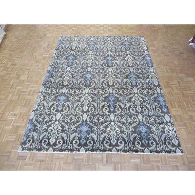 One-of-a-Kind Railsback Ikat Hand-Knotted Rayon from Bamboo Silk Chocolate Brown Area Rug