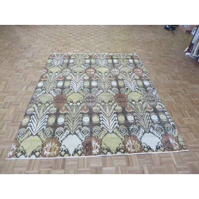 One-of-a-Kind Pellegrino Ikat Peshawar Hand-Knotted Wool Brown Area Rug
