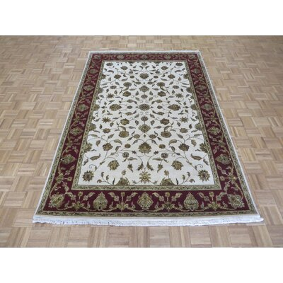 One-of-a-Kind Padro Hand-Knotted Wool Ivory/Red Area Rug