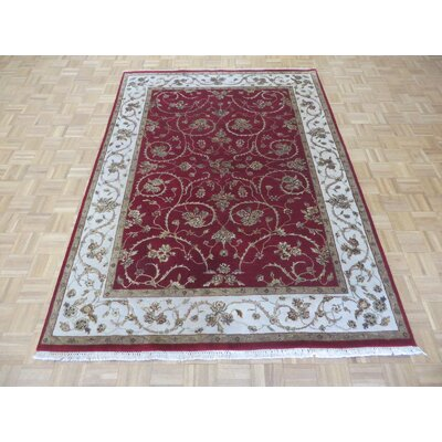 One-of-a-Kind Padro Hand-Knotted Wool Burgundy Area Rug