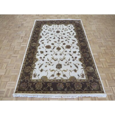 One-of-a-Kind Padro Hand-Knotted Wool Ivory/Brown Area Rug