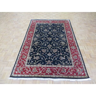 One-of-a-Kind Padro Hand-Knotted Wool Black/Red Area Rug