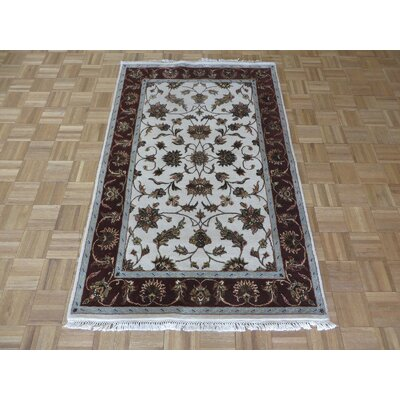 One-of-a-Kind Padro Hand-Knotted Wool Ivory/Burgundy Area Rug