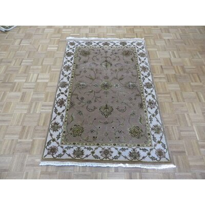 One-of-a-Kind Padro Hand-Knotted Silk Taupe Area Rug