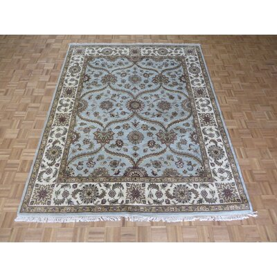 One-of-a-Kind Rhyne Peshawar Oushak Hand-Knotted Wool Sky Blue Area Rug
