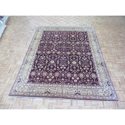 One-of-a-Kind Railsback Plum Oushak Hand-Knotted Wool Purple Area Rug