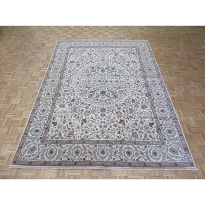 One-of-a-Kind Railsback Oushak Hand-Knotted Wool Ivory Area Rug