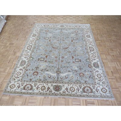 One-of-a-Kind Railsback Oushak Hand-Knotted Wool Sky Blue Area Rug