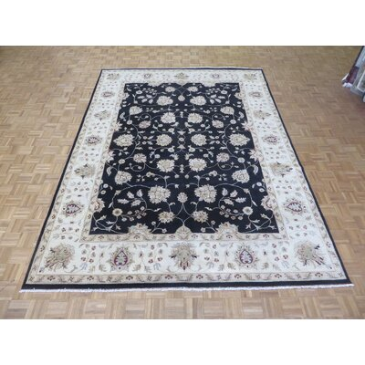 One-of-a-Kind Railey Peshawar Oushak Hand-Knotted Wool Black Area Rug