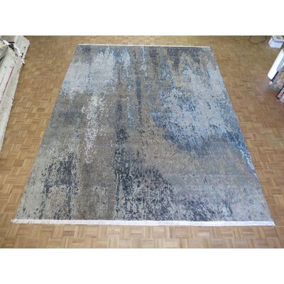 One-of-a-Kind Ziegler Modern Abstract Hand-Knotted Black/Blue Area Rug