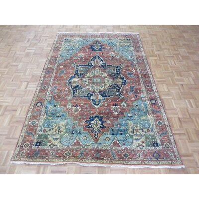 One-of-a-Kind Pellegrino Antiqued Serapi Heriz Hand-Knotted Orange Area Rug