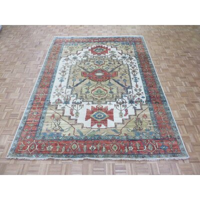One-of-a-Kind Pellegrino Antiqued Serapi Heriz Hand-Knotted Wool Ivory Area Rug