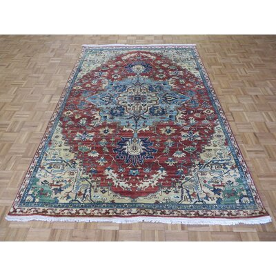 One-of-a-Kind Pellegrino Antiqued Serapi Heriz Hand-Knotted Wool Rust Red Area Rug
