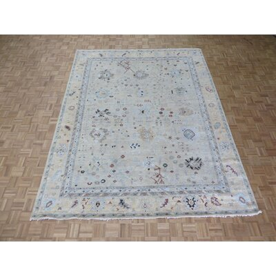 One-of-a-Kind Emerystone Antiqued Oushak Hand-Knotted Beige Area Rug