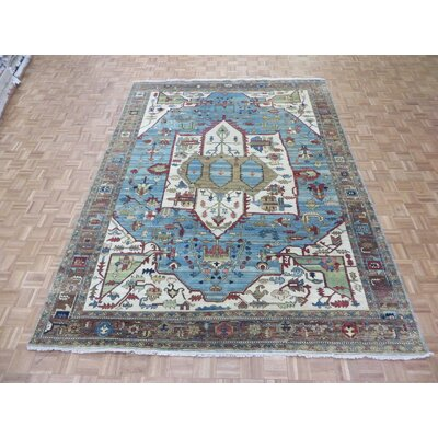 One-of-a-Kind Padro Heriz Hand-Knotted Wool Sky Blue Area Rug Rug Size: Rectangle 710 x 910