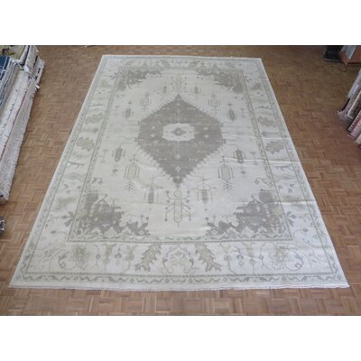 One-of-a-Kind Emerystone Oushak Hand-Knotted Wool Ivory Area Rug Rug Size: Rectangle 123 x 176