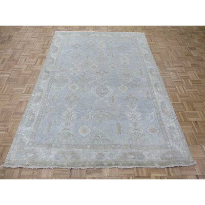One-of-a-Kind Josephson Turkish Oushak Hand-Knotted Wool Sky Blue Area Rug
