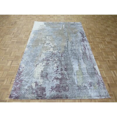 One-of-a-Kind Pellegrino Modern Abstract Hand-Knotted Wool Purple Area Rug Rug Size: Rectangle 811 x 122