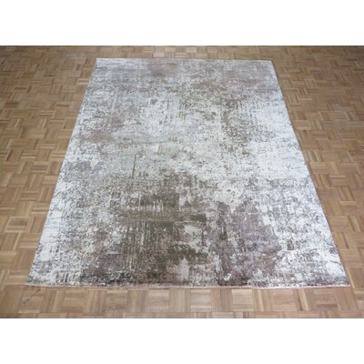 One-of-a-Kind Pellegrino Modern Abstract Hand-Knotted Wool Brown Area Rug