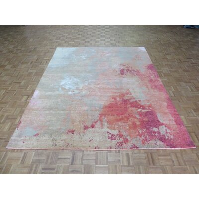 One-of-a-Kind Padillo Modern Abstract Hand-Knotted Wool Red Area Rug