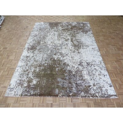 One-of-a-Kind Pellegrino Modern Abstract Hand-Knotted Wool Gray Area Rug