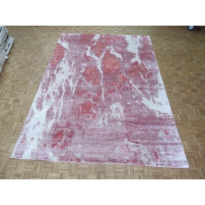 One-of-a-Kind Padillo Modern Abstract Tibetan Hand-Knotted Wool Pink Area Rug